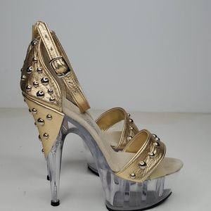 GASOLINE GLAMOUR Shoes - GASOLINE GLAMOUR GOLD STUDDED PEEP TOE SHOES